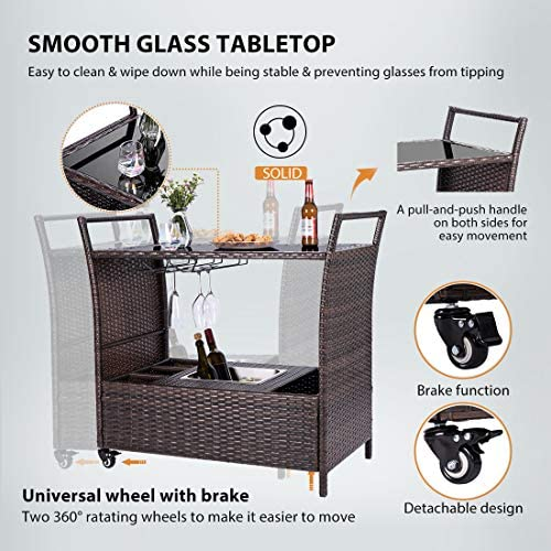 VIVOHOME Outdoor Rolling Wicker Bar Cart with Ice Bucket and Storage Compartments 3 Goblet Holders for Backyard Lawn Garden Brown