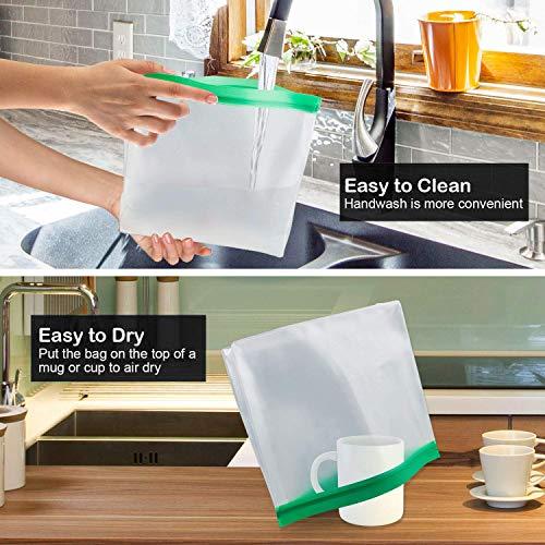 Reusable Storage Bags, 6PCS LARGE Leakproof Ziplock Bags, Reusable Freezer Lunch Sandwich Bags, Reusable Snack BPA Free Food Bags for Marinate Meats, Snack, Sandwich, Fruit, Travel, Cereal, Veggies