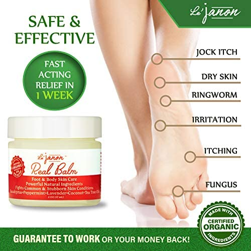 Antifungal Organic Tea Tree Oil Foot & Body Balm, For Jock Itch, Dry Skin, Cracked Heels, Athletes Foot, Made USA Certified Organic Natural 100% + Essential Oils + Vitamins | Moisturizing & Soothing |