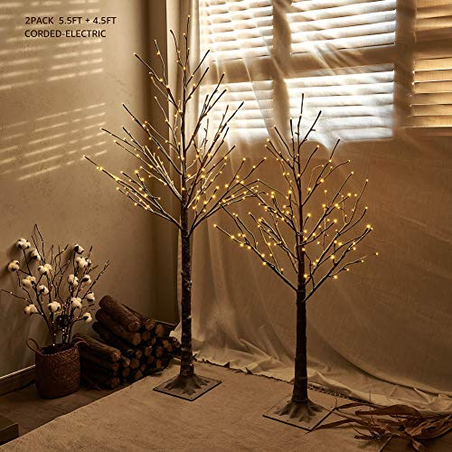 Hairui Pre Lit Artificial Twig Brown Tree 2 Pack Snow Flocked 4.5FT 128LED 5.5FT 168LED Plug in for Christmas Holiday Winter Decorations Indoor Outdoor Use