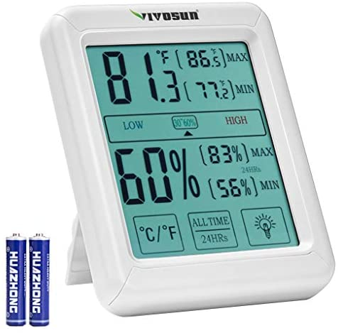 VIVOSUN Digital Indoor Thermometer and Hygrometer with Humidity Guage, Accurate Temperature Humidity Monitor Meter with Touch LCD Backlight for Home, Office, Greenhouse, Indoor Garden, Battery Include