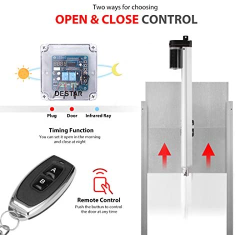 DEStar 12V DC Automatic Timer Controlled Indoor Outdoor Chicken Coop Door Opener Kit with Infrared Sensor and Bonus Remote Control
