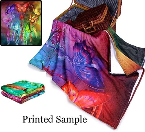 "Personalized Customize Throw Blanket bed blanket Made Custom from Your Photo INTO Soft Fabric Velvet Plush Fleece Keepsake Gift Personalized Your Photo Image Text Picture Printed (Standard 50""X60"")"