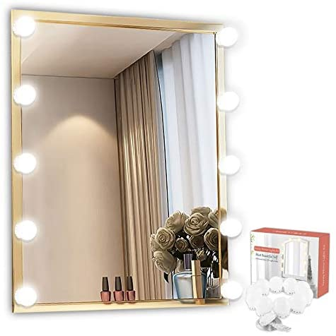 DIY Vanity Mirror Lights Kit Sailstar Hollywood Style with Dimmable 10 LED Bulbs for Makeup Vanity Table Set and Bathroom Dressing Room, Lighting Fixture Strip with USB Charging (Mirror Not Include)