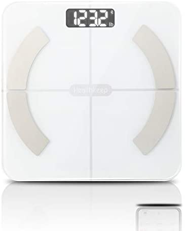 Body Fat Scale Smart BMI Scale Digital Bathroom Wireless Weight Scale, Body Composition Analyzer with Smartphone App sync with Bluetooth, 396 lbs - White
