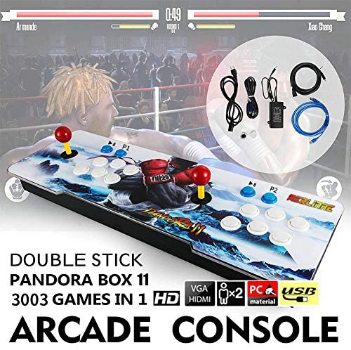 3003 Games Pandora Box 11,Arcade Video Game Machine Console Multiplayer Joystick,Newest System ,Contain 14 3D Games,Support 4 Player one time,Compatible with HDMI and VGA (PandoraBox11, White)