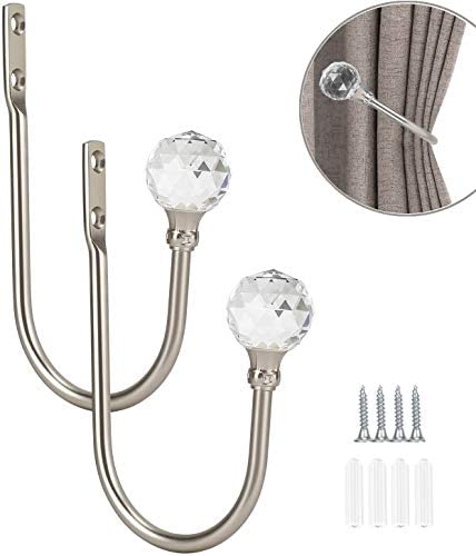 KOLAKO Curtain Drapery Holdbacks, Curtain Tieback Hooks with Crystal Ball, U Shaped Curtain Holders Wall Mounted Curtain Holdbacks, Heavy Duty Window Treatment Holdbacks for Home
