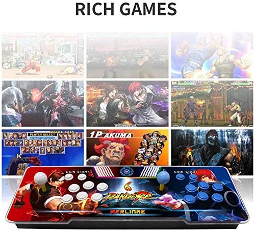 MERLINAE 3003 Games Arcade Machine, Family Game Pandora's Box 6 Multiplayer Home Joystick,Customized Buttons,Support 1280x720 Full HD,Support PS3,Compatible with HDMI and VGA for Children Gift