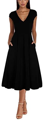 Pink Queen Womens Vintage Cap Sleeve V Neck Prom Party Swing Midi Dress with Pocket
