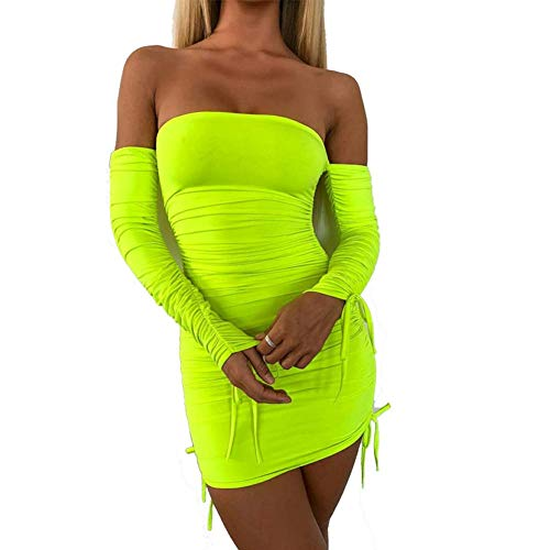Women's Neon Green Ruched Off Shoulder Long Sleeve - Bodycon Dress Sexy Dresses Party Night Club Dresses
