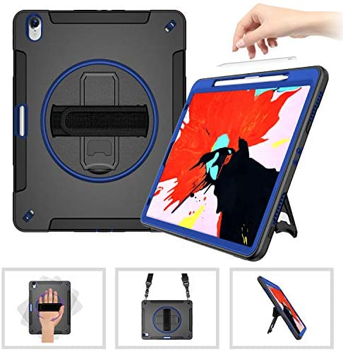 SUPFIVES iPad 12.9 Case [Support Apple Pencil Charging] with Hand Strap+Stand+Shoulder Strap Anti-Drop Shockproof Rugged Business Case for iPad 12.9 12.9'' 3rd Generation (Blue+Black)