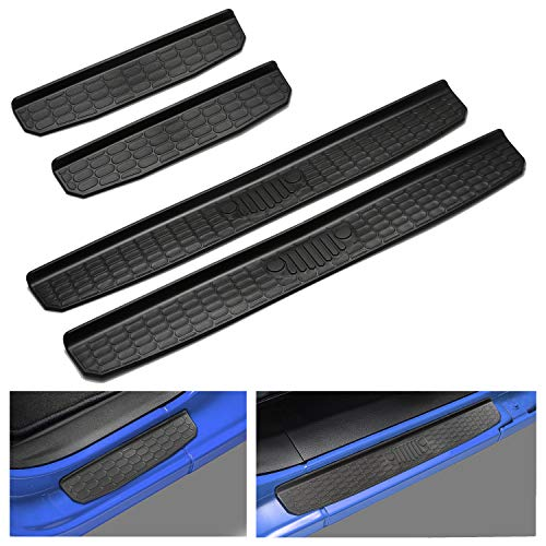 Seven Sparta Door Sill Guards for Jeep JL/JLU 2018 Wrangler Entry Guards Black(4-Door)