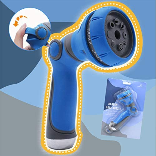 Hose Nozzle Garden, Metal Spray Nozzle High Pressure, 8 Patterns Thumb Control for Watering, Washing (Blue)