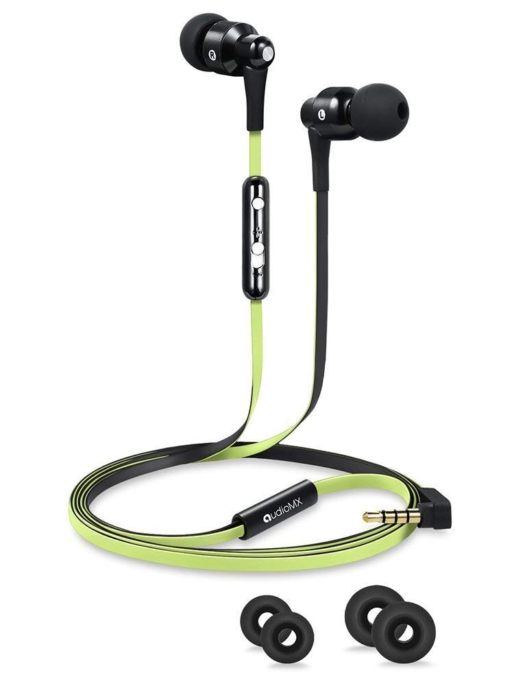 AudioMX EM-11G in-Ear Headphones with Mic & Volume Control, Green and Black Flat Cables, 3.5mm Jack