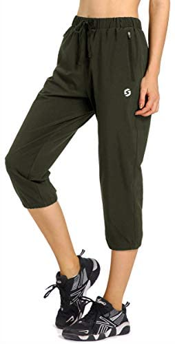 Womens Lightweight Jogger Capri Pants Quick Dry Workout Running Capris Sun Protection UPF 50+ Zipper Pockets