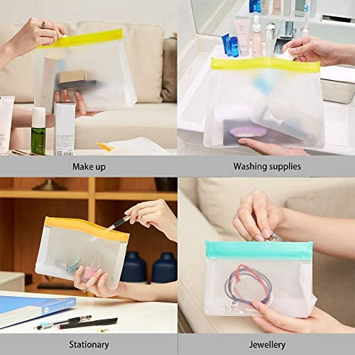 9pc Food Reusable Storage Bags BPA Free Fruit Vegetable Meat Liquid Snack Preservation Freezer Gallon Bag Leakproof Seal Ziplock Waterproof Silicone
