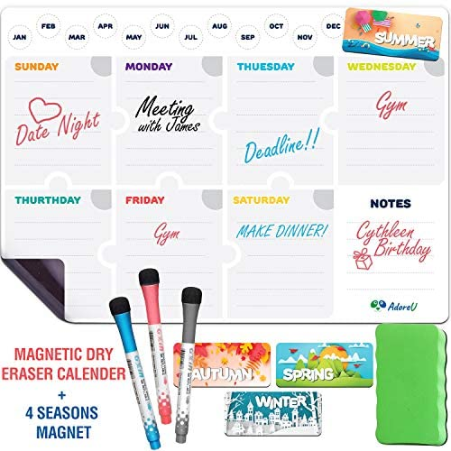 "Magnetic Dry Erase Calendar for Fridge Weekly 17 x 12"" - Magnetic Calendar for Refrigerator - Whiteboard Calendar with 4 Magnets and 3 Markers - Whiteboard Calendar for Refrigerator"