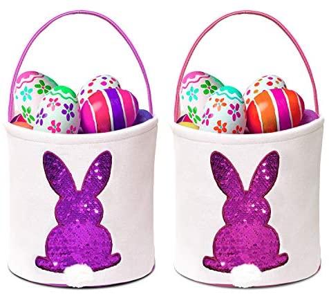 SEVENS 2 Pack Easter Bunny Basket Eggs Gift Candy Tote Bags for Kids Egg Hunt Reusable Storage Canvas Handbag (Purple & Pink)