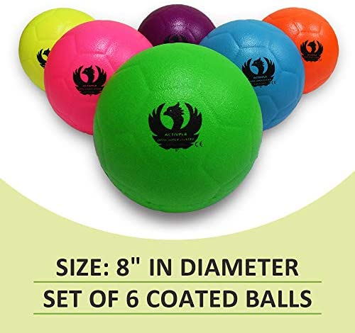 Soccer Ball Set, High Durability, Coated Foam Ball Safe and Fun for Kids and Adults in Playground and Indoor, 8 Inch