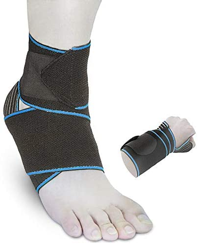 Ankle Support Sprained Brace Adjustable Compression Wrap for Runners Women Men (Blue)