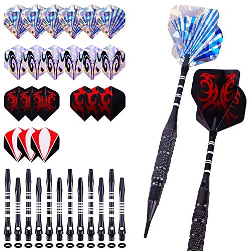 Darts, Soft Tip Darts for Electronic Dart Board, Plastic Tip Dart of 12 Pcs 18 Gram, 18 Aluminum Shafts 100 Extra Dart Tips 21 Flights Rubber O'rings Tool Kit for Beginners Professional Players