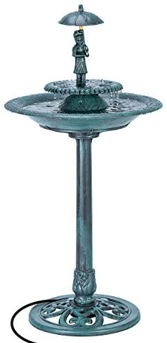 VIVOHOME 110V 40 Inch Height Freestanding Electric Polyresin Girl with Umbrella Lightweight Antique Outdoor Garden Bird Bath Water Fountain