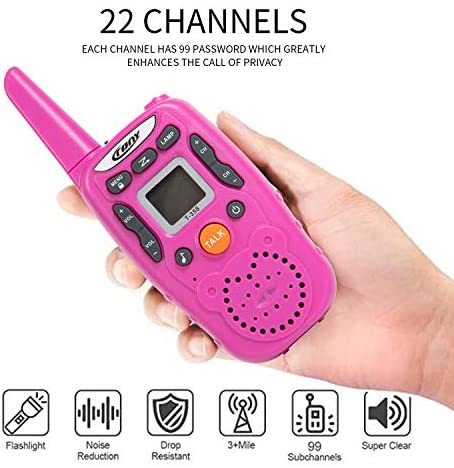 Walkie Talkies for Kids ,Toys for 3-12 Year Old Kids 22 Channels 2 Way Radio Toy with Backlit LCD Flashlight, 3 Miles Range for Outside, Camping, Hiking (Pink Or Blue Random Delivery)