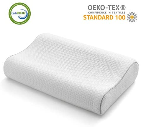 CO-Z Contour Memory Foam Pillow Ergonomic Orthopedic Cervical Pillow for Neck Support Bed Pillow for Side/Back/Stomach Sleepers with White Bamboo Pillowcase Standard Size