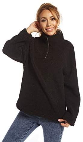 SUGAR POISON Women Casual Sherpa Fleece Sweatshirt 1/4 Zip Faux Sweater Fuzzy Pullover
