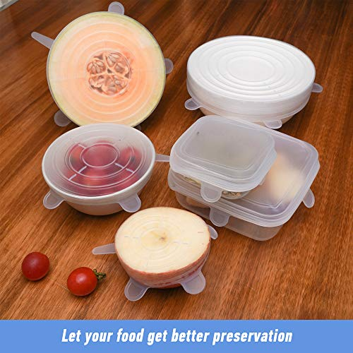 Silicone Stretch Lids 12-Pack, Food Grade Reusable Food and Bowl Covers, No More Plastic Wraps