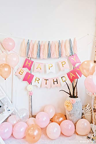 ZZIIEE Birthday Party Decorations Kit, Pink Happy Birthday Banner, Paper Tassel Garland, Gold Pink Balloons & Confetti Balloons, Paper Pom Pom Tissue Flower, Birthday Party Supplies for Women Men Kid.