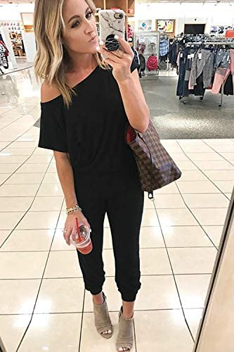 Women's Loose Fit Off Shoulder Elastic Waist Beam Foot Jumpsuit Rompers with Pockets