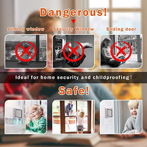 SINVNE Upgraded Sliding Door Lock Child Safety 4 Pack Sliding Window Locks with Strong 3M Adhesive No Screws Baby Safety Locks for Sliding Doors Windows Proof Patio Closet Cabinets Shower