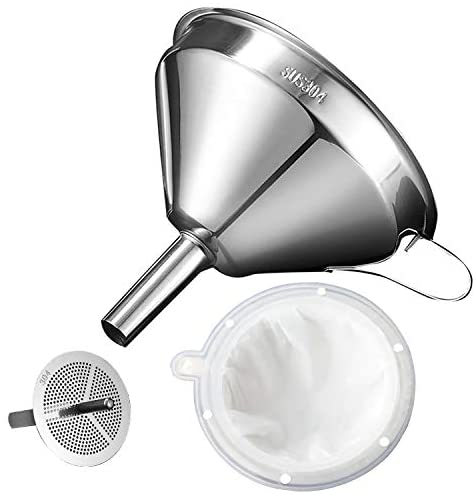 Kitchen Funnel for Filling Bottles, Cooking Oil Funnel with Strainer and 200 Mesh Filter, Tea Grease Juice Food Strainer, 18/8 Stainless Steel Funnel (5 inch Mouth, 0.63 inch Stem)
