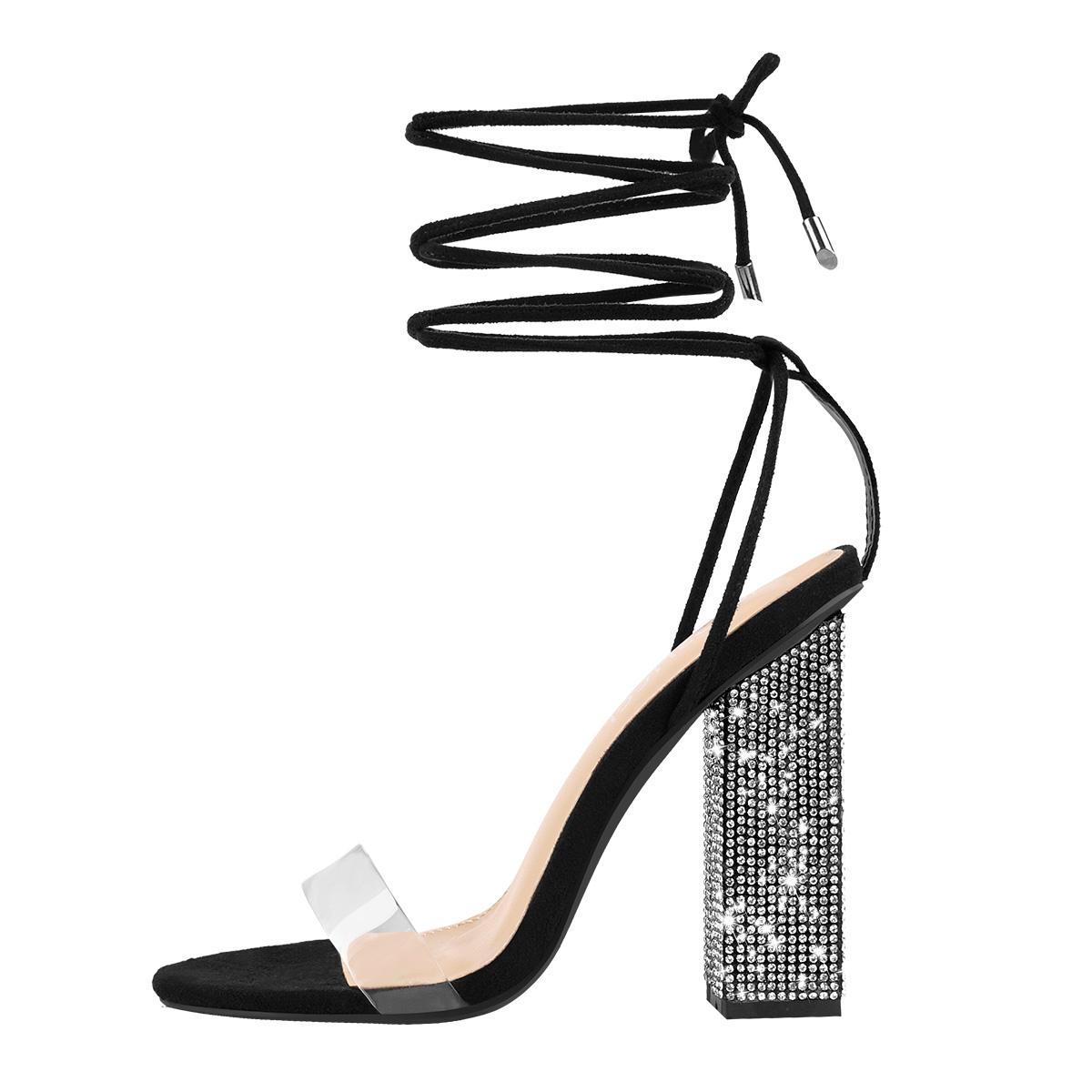 MissHeel Rhinestone Chunky Heel Sandals Lace Up