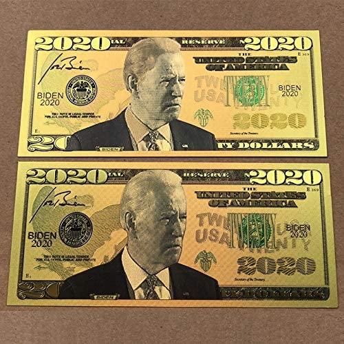 sunhine Forest 2PCS Authentic 2020 President Joe Biden 24kt Gold Plated Commemorative Bank Note Collectors Item