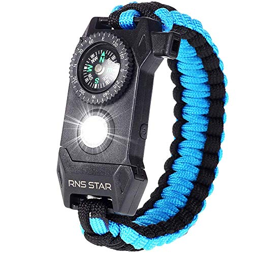 RNS STAR Paracord Survival Bracelet 6-in-1 - Hiking Gear Traveling Camping Gear Kit - 70% Bigger Compass LED SOS Emergency Function Flashlight,Fire Scrapper,Flint Fire Starter,Survival kit