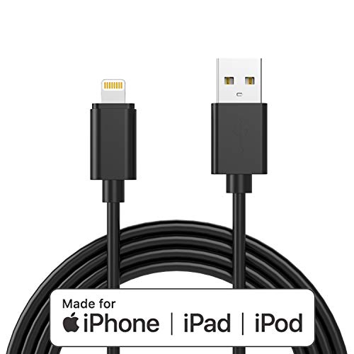 Apple MFI-Certified Lightning iPhone Charger Cable - Made for iPhone 11/11pro max/Xs/XS Max/XR/X / 8/8 Plus / 7/7 Plus / 6/6 Plus / 5 / 5S and More,6FT (Black)