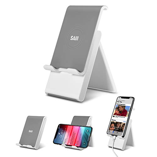 SAIJI Cell Phone Stand, Adjustable Cellphone Stand Foldable Phone Ipad Holder for Desk with Anti-Scratch Base and Convenient Charging Port Compatible Universal Smartphones - Gray