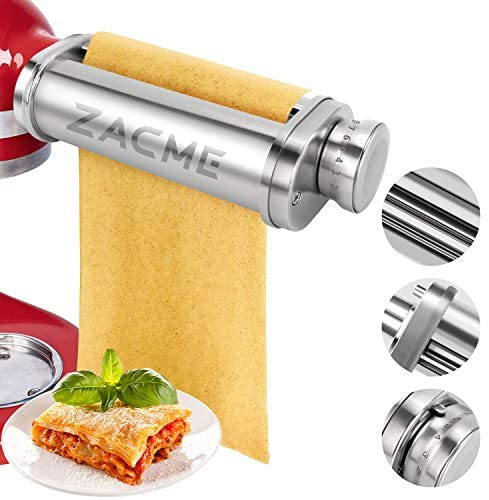 Pasta Maker Attachment, ZACME Washable Stainless Steel Pasta Maker Attachment for KitchenAid Stand Mixers, Durable Silent Pasta Sheet Roller with Cleaning Brush (Silver)