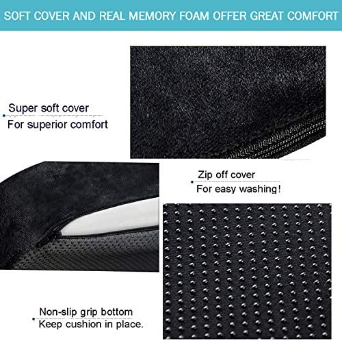 YJWAN Car Seat Wedge Cushion Memory Foam Seat Cushion for Car Driving Office Chairs Wheelchair to Relieve Pain