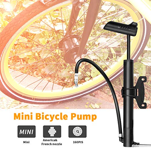 Allnice Mini Bike Pump Portable Hand Pump Pocket Floor Pump Bike Air Pump for Inflator High-Pressure Biking Mountain Bicycle Tire Ball Folding Toy Sports Balls