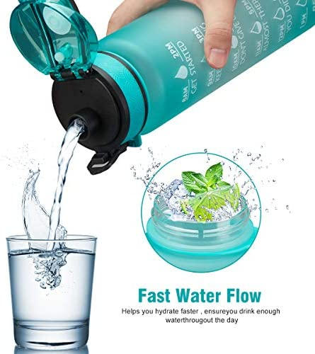 Sports Water Bottle for Child Ourdoor, 32oz BPA Free Leakproof Water Jug