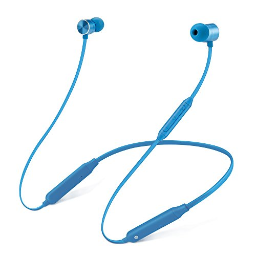 Bluetooth Headphones Sports Wireless Neckband Earbuds Sweatproof Headset Magnetic attraction Stereo Earphones for Running Workout Gym Noise Cancelling (Blue)