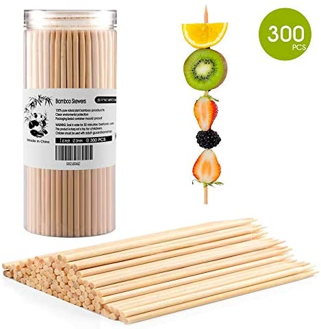 "sincetop 300 PCS Premium Natural Bamboo Skewers for BBQ,Shish Kabob, Sausage,Grill, Appetizer, Fruit, Corn, Chocolate Fountain, Hot Dog and More Food, Sizes 6"" 3 mm"