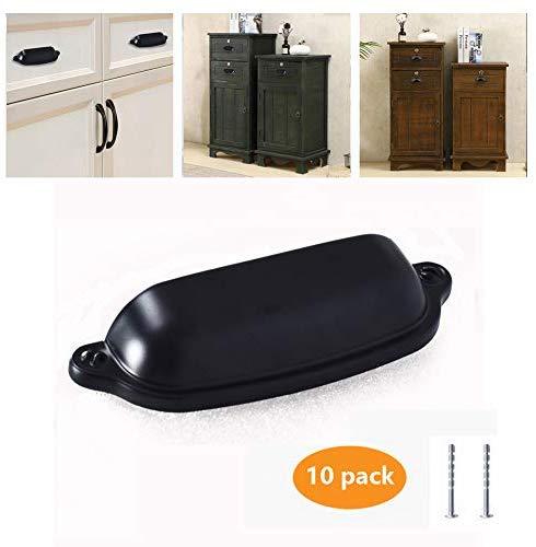 """Kullavik 10-Pack Flat Black Modern Cabinet Hardware Handle Drawer Pulls - 3"""" (76mm) Hole Centers-for Kitchen Cupboard Door Bedroom Side Table etc."""