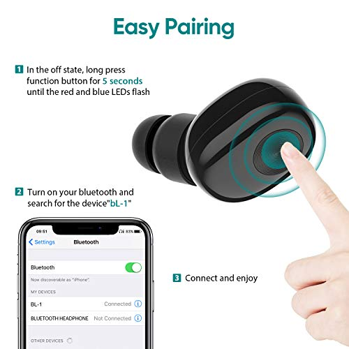 Bluetooth Earbud,ownta Wireless Headphones with Light Charging Case Headset Single Earbud Compatible Smartphone/iPhone 6 7 8 Plus X/iPad Samsung Android 17
