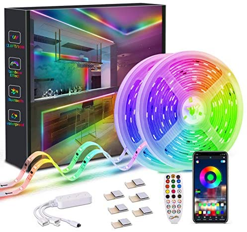 Dreamcolor LED Strip Lights, 32.8FT RGBIC App Control Light Strips with Chasing Multicolor Effect, Waterproof Music Sync 5050 Led Lights for Bedroom Kitchen TV Dorm Garden Party Halloween(2x16.4ft)
