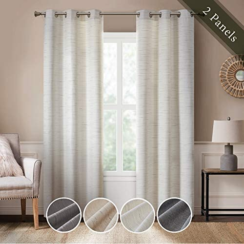 Hyde Lane Modern Farmhouse Window Curtains for Living Room | Rustic Home Kitchen Decor | Grasscloth Faux Linen | Room Darkening Grommet Top Windows Treatments | White 40x84 Inches - 2 Pieces