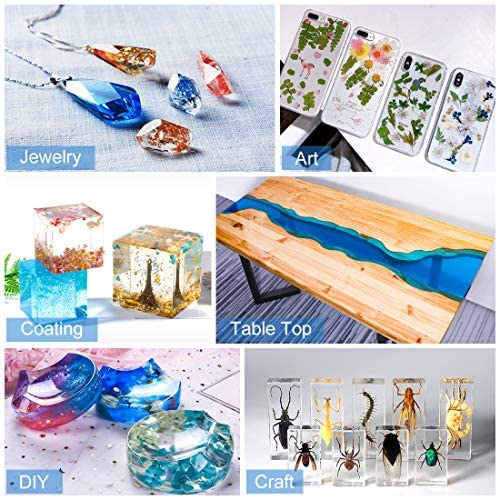 16OZ Epoxy Resin and Hardener Kit Crystal Clear for Jewelry DIY Art Crafts Cast Coating Wood,Easy Cast Resin Bonus with 4pcs Sticks,2pcs Graduated Cups, 2 Pairs Gloves,1 Instructions